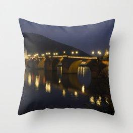 Heidelberg Bridge by night Throw Pillow