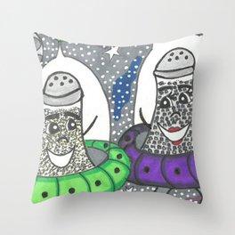 Salt & Pepper in space Throw Pillow