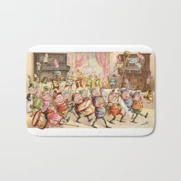 Victorian Trade Card with a Brownies marching band Bath Mat
