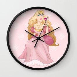 Blond Princess Smells A Rose Wall Clock