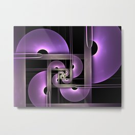 Purple Semicircles, Modern Fractal Art Metal Print