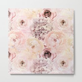 Midsummer Roses- Vintage Rose Pattern Metal Print