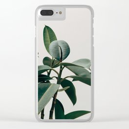 Minimalist Mid Century Modern House Plant Green Leaves Clear iPhone Case