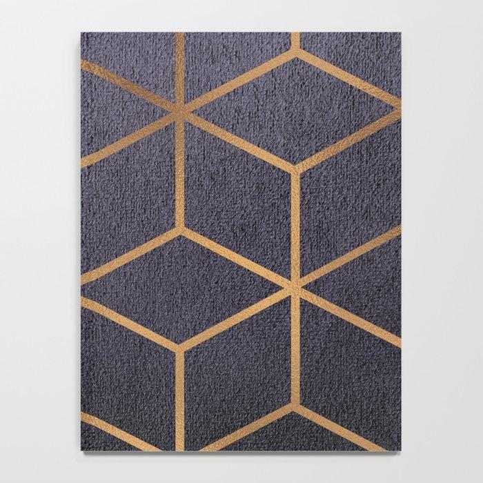 Dark Purple and Gold - Geometric Textured Gradient Cube Design Notebook