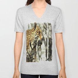 tree branch african safari animal leopard Unisex V-Neck