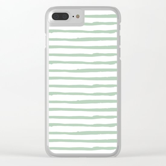 Elegant Stripes White and Pastel Cactus Green Clear iPhone Case