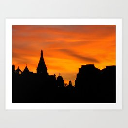 London Sunset in sillouette bywhacky Art Print