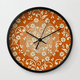 """Beige Flowers & Orange Texture"" Wall Clock"