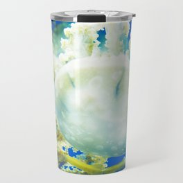 Blue Jellyfish Under the Sea Underwater Photography Saturated Pop Art Color Wall Art Travel Mug