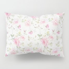 Elegant blush pink white vintage rose floral Pillow Sham