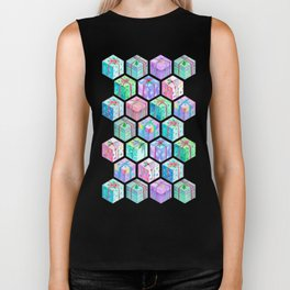Christmas Gift Hexagons Biker Tank