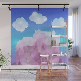 Abstract polygonal house with clouds and background Wall Mural