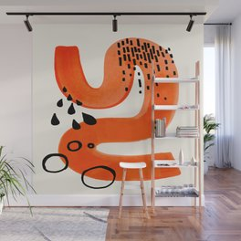 Mid Century Modern abstract Minimalist Fun Colorful Shapes Patterns Orange Brush Stroke Watercolor Wall Mural