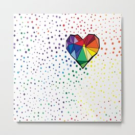 Colorful geometric heart Metal Print