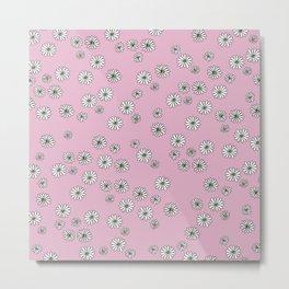 Romantic daisy garden sweet girls baby nursery pattern pink Metal Print