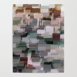 abstract colorful pastel drawing green brown tones Poster