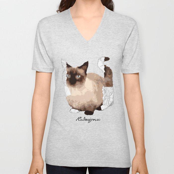 Geometric Animal - Munchkin Cat Unisex V-Neck