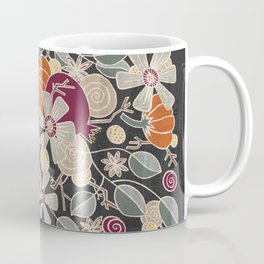 Fall Botanical Art Black Background Coffee Mug