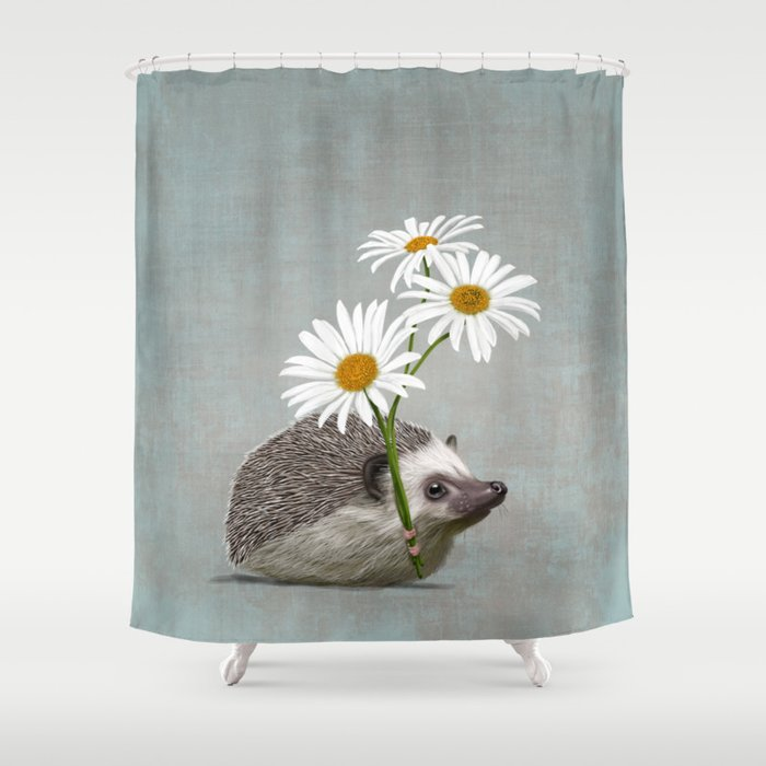 Hedgehog in love Shower Curtain