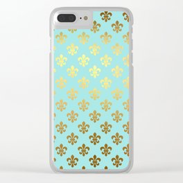 Royal gold ornaments on aqua turquoise background Clear iPhone Case