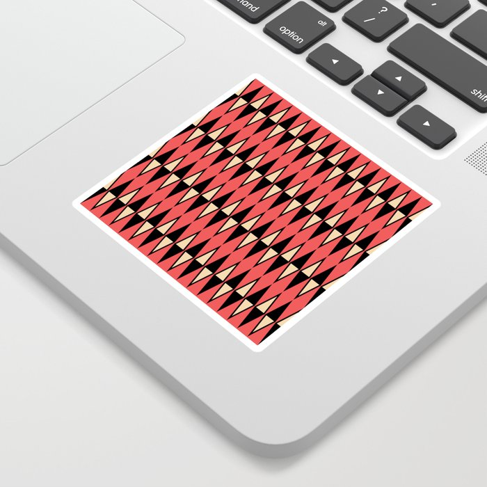 Mid Century Modern Diamond Pattern Red Black cream 231 Sticker