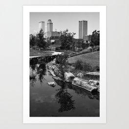 Tulsa Oklahoma Skyline and River Black and White Art Print