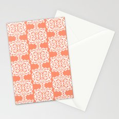 Behind Damask - Peach Stationery Cards