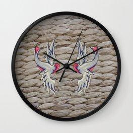 Blue & Pink Swallows Wall Clock