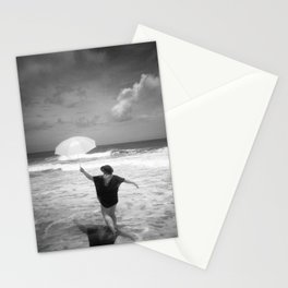 The Girl with the Umbrella - Black and White Photograph  Stationery Cards