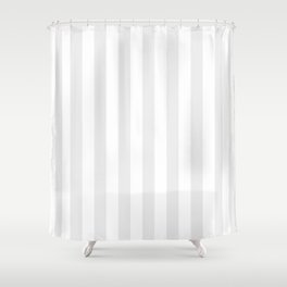 Narrow Vertical Stripes - White and Pale Gray Shower Curtain