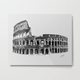 Colosseum Drawing Metal Print