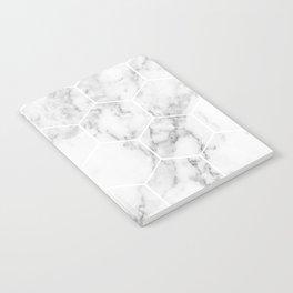 White marble hexagonal beehive Notebook