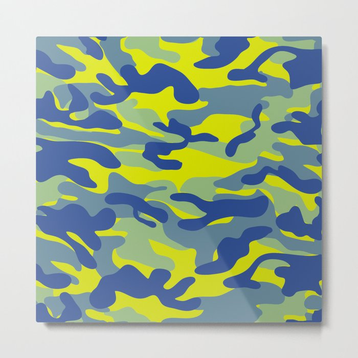 Yellow Military Camouflage Pattern Metal Print