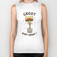 groot Biker Tanks featuring Groot, Baby Groot! by Andrew Sebastian Kwan