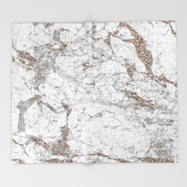 White frost - rose gold marble Throw Blanket