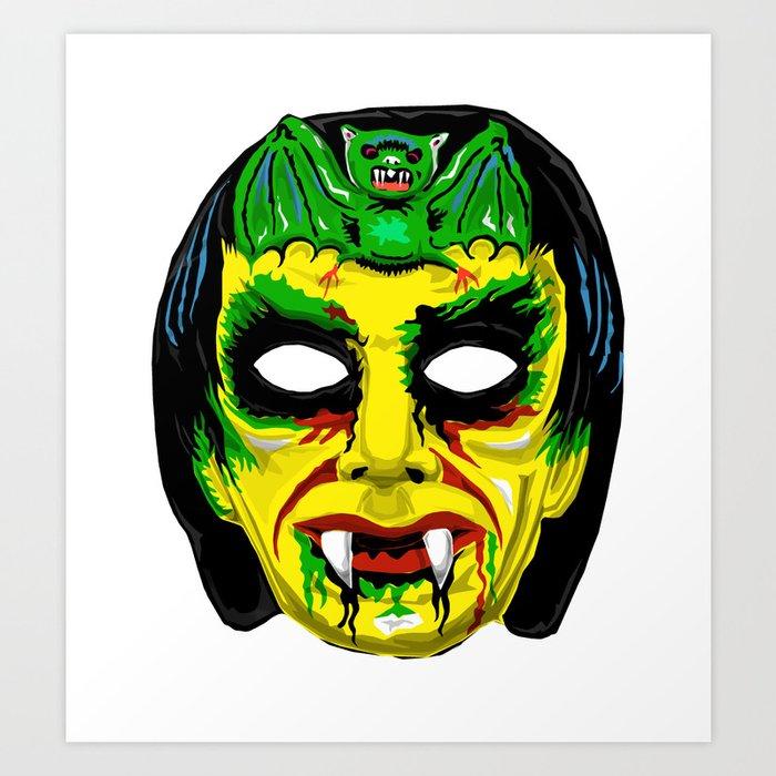 Retro Halloween Mask Vampire Art Print By Tonyley Society6