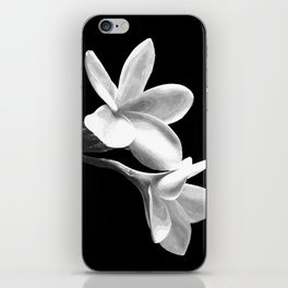 White Flowers Black Background iPhone Skin