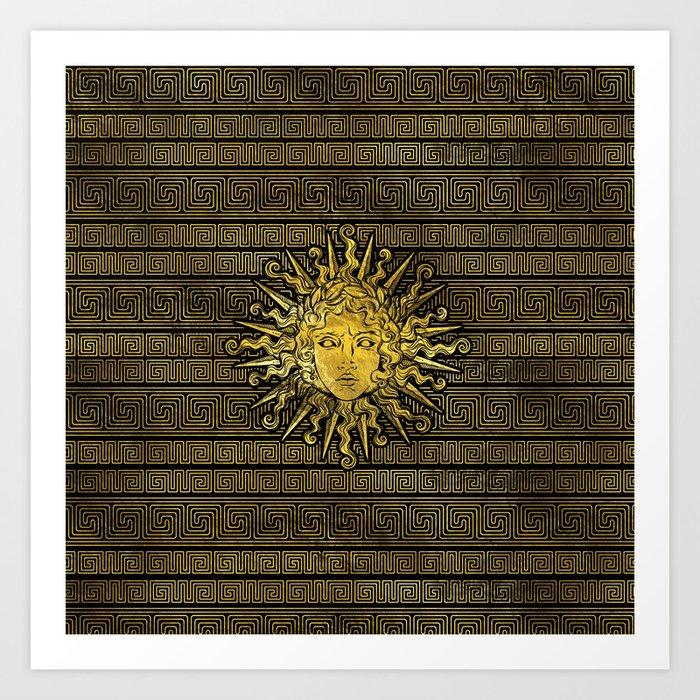 Apollo Sun Symbol On Greek Key Pattern Art Print By K9printart