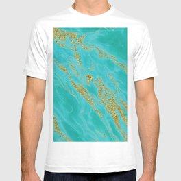 Luxury and glamorous gold glitter on aqua Sea marble on #Society6 T-shirt