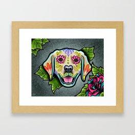 Golden Retriever - Day of the Dead Sugar Skull Dog Framed Art Print
