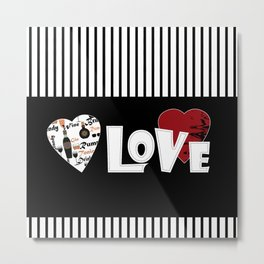 Valentine's day . Love. Black and white striped background . Metal Print