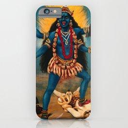 Kali trampling Shiva, Raja Ravi Varma - Vintage Chromolithograph iPhone Case