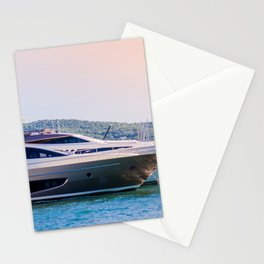Travel Art Print - Nautical Photography - Sailing on the Ocean - Luxury Yacht in France Europe Stationery Cards