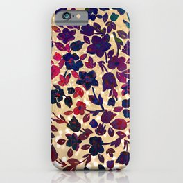 Chic gold glitter navy blue red green gradient floral iPhone Case