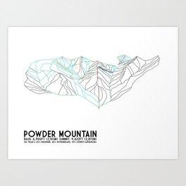 Powder Mountain, UT - Minimalist Trail Art Art Print