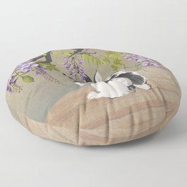 Two Rabbits Under Wisteria Tree Floor Pillow