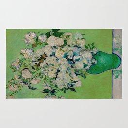 White Rose In A Vase Vincent van Gogh 1890 Oil on Canvas Still Life With Floral Arrangement Rug