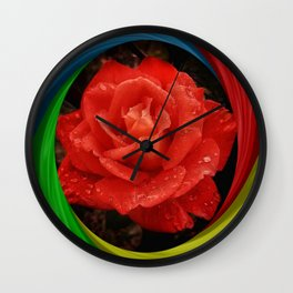 Rainbow Rose Wall Clock