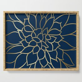 Floral Prints, Line Art, Navy Blue and Gold Serving Tray