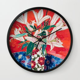 Blush Lily Bouquet on Orange Wall Clock